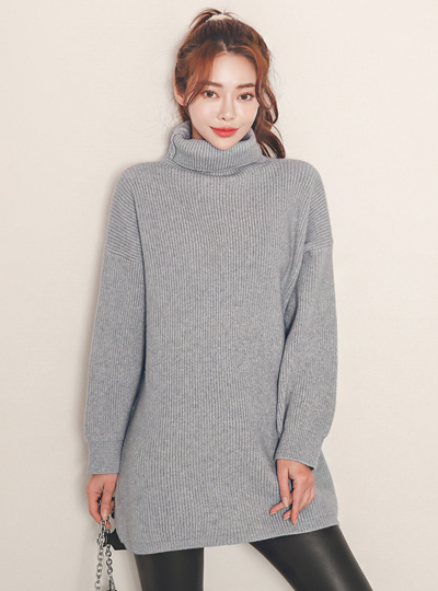 Soft Turtleneck Knit Long Knit