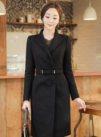 Stick belt Slim double Wool coat II