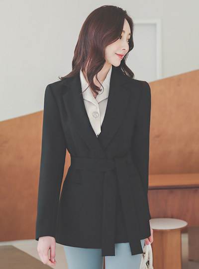 Modern Simple Belted Tailored Span Jacket