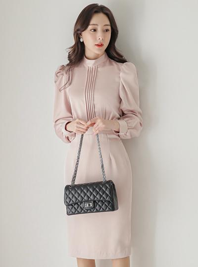 Satin Pleats Obi-Line Slim H-line Dress